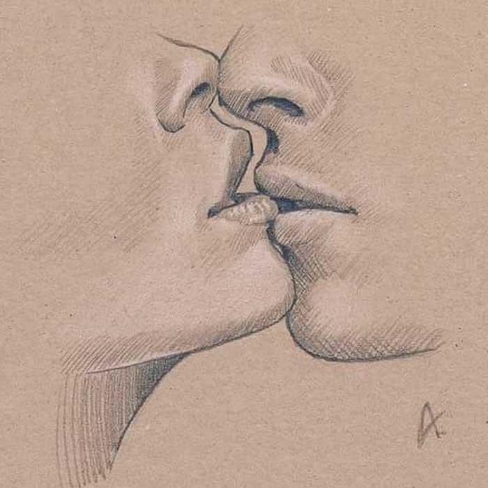 Поцелуй картинка пошагово