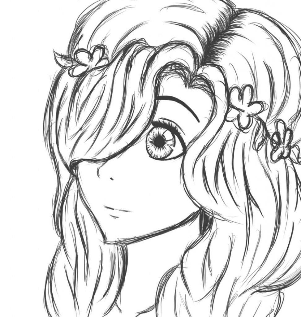 Рисунок девочки для срисовки