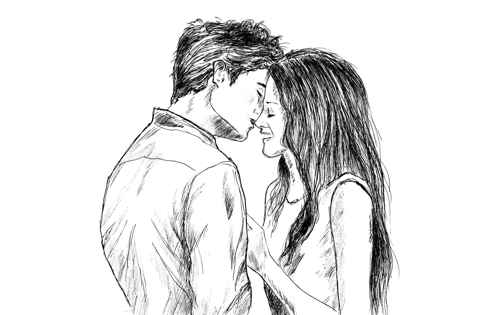 Парень целует девушку картинки карандашом